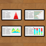 Statistical file on tablets. Economic layer infographic report, vector illustration Royalty Free Stock Images