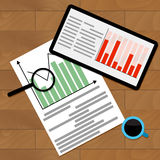 Statistical finance analysis. Vector flowchart study illustration Stock Photography