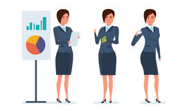Statistical research, marketing, planning, financial analysis, presentation of company`s position. Businesswoman in office work situations. Statistical research Royalty Free Stock Photos
