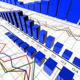Statistical symbols. 3d image of statistical symbols and graphics royalty free illustration