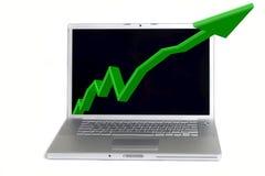 Statistiche in computer portatile Immagini Stock Libere da Diritti