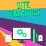 Statistiche del sito del testo di scrittura di parola Concetto di affari per la misura di comportamento degli ospiti a determinat royalty illustrazione gratis