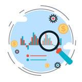 Statistiche finanziarie, analisi di tendenze del mercato, concetto di vettore del grafico di affari Fotografia Stock