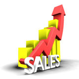 Statistiche grafiche con la parola di vendite Fotografia Stock Libera da Diritti