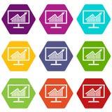 Statistiche sul hexahedron stabilito di colore dell'icona del monitor royalty illustrazione gratis