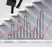 Statistician climbing the stairs Royalty Free Stock Photos