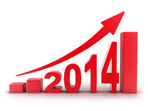 2014 statistics. Abstract diagram 2014 red (done in 3d royalty free illustration