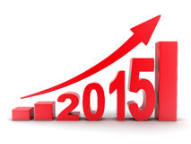 2015 statistics. Abstract diagram 2015 red (done in 3d Royalty Free Stock Photos