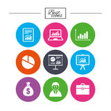 Statistics, accounting icons. Charts signs. Stock Images