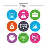 Statistics, accounting icons. Charts signs. Stock Image