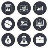 Statistics, accounting icons. Charts signs. Statistics, accounting icons. Charts, presentation and pie chart signs. Analysis, report and business case symbols Stock Images