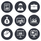 Statistics, accounting icons. Charts signs Royalty Free Stock Image