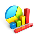 Statistics analysis business colorful shiny bar graph. 3d render illustration Stock Photos