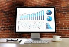 Statistics Analysis Business Data Diagram Growth Increase Market. Ing Concept , digital tablet and graph financial with social network diagram Royalty Free Stock Photo