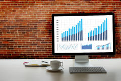 Statistics Analysis Business Data Diagram Growth Increase Market. Ing Concept , digital tablet and graph financial with social network diagram Stock Images