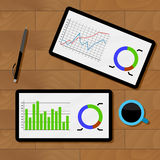 Statistics analysis chart. Analyzing data and review chart on tablet, vector illustration Royalty Free Stock Photo