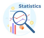 Statistics analysis vector flat illustration. Concept of accounting, analysis, audit, financial report. Auditing tax. Process Royalty Free Stock Photography