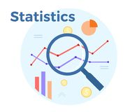 Statistics analysis vector flat illustration. Concept of accounting, analysis, audit, financial report. Auditing tax royalty free illustration