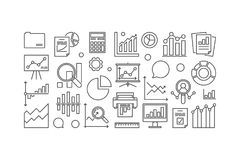 Statistics and analytics concept illustration. Or banner in thin line style on white background Stock Image