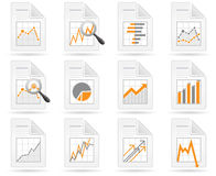 Statistics and analytics file icons. With diagrams Royalty Free Stock Photo