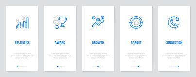 Statistics, Award, Growth, Target, Connection Vertical Cards with strong metaphors. Statistics Award Growth Target Connection Vertical Cards with strong Stock Image