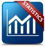 Statistics blue square button red ribbon in corner Royalty Free Stock Images