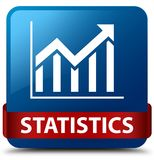 Statistics blue square button red ribbon in middle Stock Photography