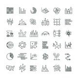 Statistics business graphs and charts outline vector icons. Financial diagrams line pictograms. Diagram and chart, business graph finance illustration Royalty Free Stock Images
