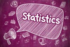 Statistics - Cartoon Illustration on Purple Chalkboard. Speech Bubble with Text Statistics Doodle. Illustration on Purple Chalkboard. Advertising Concept Stock Photos