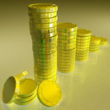 Statistics Of Coins Showing Monetary Reports Royalty Free Stock Photos