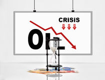 Statistics collapse in oil prices. Poster with statistics collapse in oil prices and hourglass with euro banknotes Stock Images