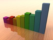 Statistics in color. Statistics increasing in color on table Royalty Free Stock Photos