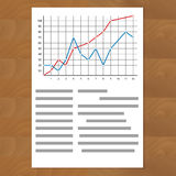 Statistics comparing graph curves. Document paper with color line, annual timeline profit info, vector illustration Stock Photo