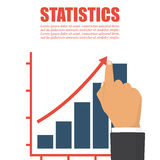 Statistics concept, growing business graph. Businessman manages financial growth graph. Template investment. Vector illustration. Statistics  concept, growing Royalty Free Stock Photos