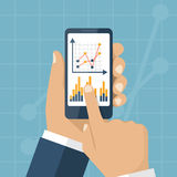 Statistics concept vector. Businessman hands holding smart phone with chart and graph. Data analysis. Business statistics concept. Vector illustration, flat Royalty Free Stock Image
