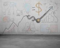 Statistics doodles with money symbol hands clock. Statistics doodles on wall with money symbol hands clock Stock Images