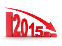 2015 statistics down. Abstract diagram 2015 red (done in 3d Stock Image
