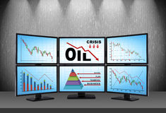 Statistics fall in oil prices Royalty Free Stock Images