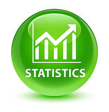 Statistics glassy green round button Stock Images