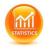 Statistics glassy orange round button Royalty Free Stock Photography