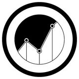 Statistics graph icon black white style Stock Photography