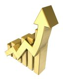 Statistics graphic in gold Stock Photo