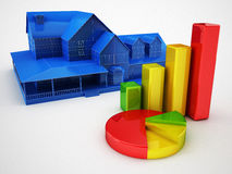 Statistics and house concept. 3d render Stock Photography
