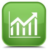 Statistics icon special soft green square button Royalty Free Stock Photos