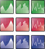Statistics icons. Vector illustration of three types of statistic icons, in three color options Stock Images