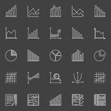 Statistics icons collection. Vector business charts, graphs and diagrams linear signs on dark background Royalty Free Stock Images