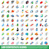 100 statistics icons set, isometric 3d style Stock Photography