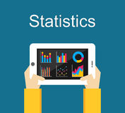 Statistics illustration. Analyze business statistics on gadget screen. Royalty Free Stock Photos