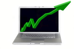 Statistics in Laptop. Notebook with green statistics line 3D in white background Royalty Free Stock Images