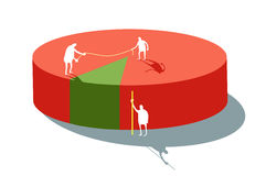 Statistics. Red-green diagram with little humans measuring for statistics Royalty Free Stock Image